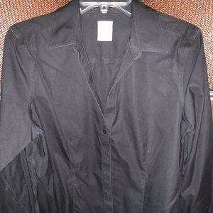 Black Fitted Non-Iron Stretch Cotton Fitted Blouse